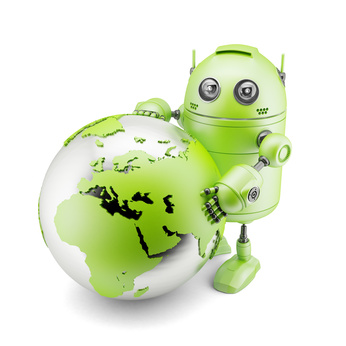 Android Holding Earth