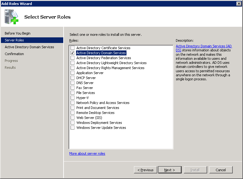 Windows Server 2008 Add Roles Wizard AD Selected