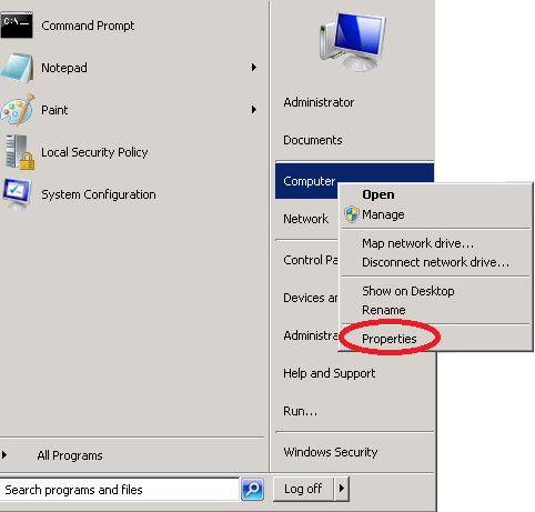 windows server 2008 computer properties