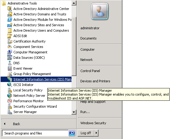 windows-server-2008-iis-start-menu