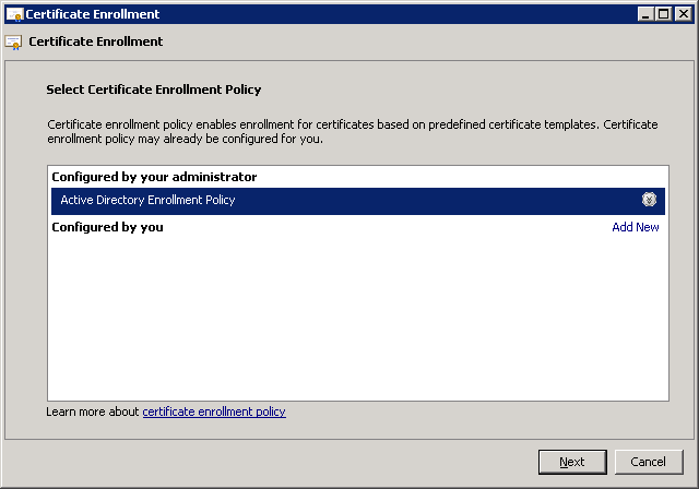 windows-server-2008-select-certificate-enrollment-policy