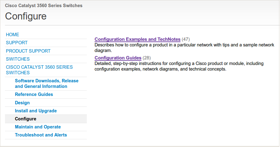 Cisco 3560 configuration support