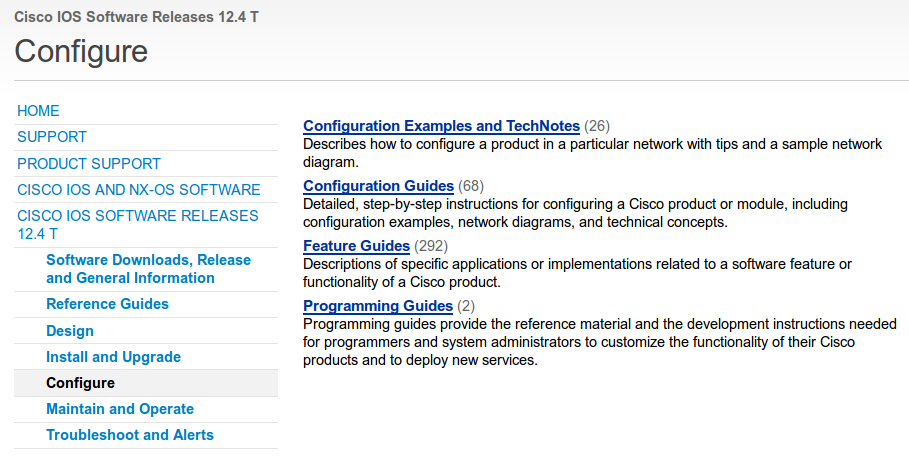 Cisco support IOS 12.4T