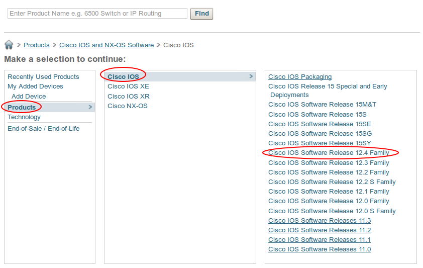 cisco support products ios