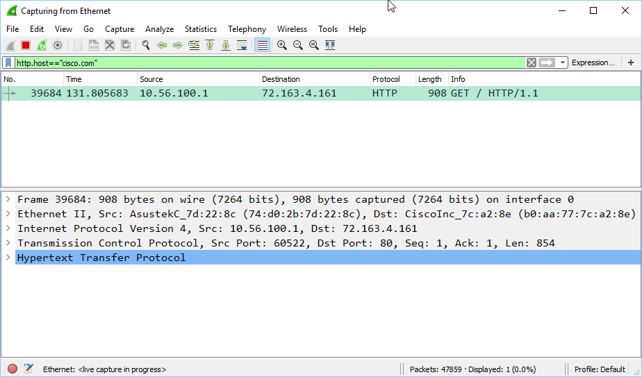 wireshark filter cisco website