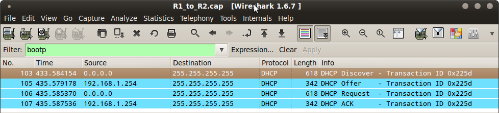 Wireshark DHCP capture