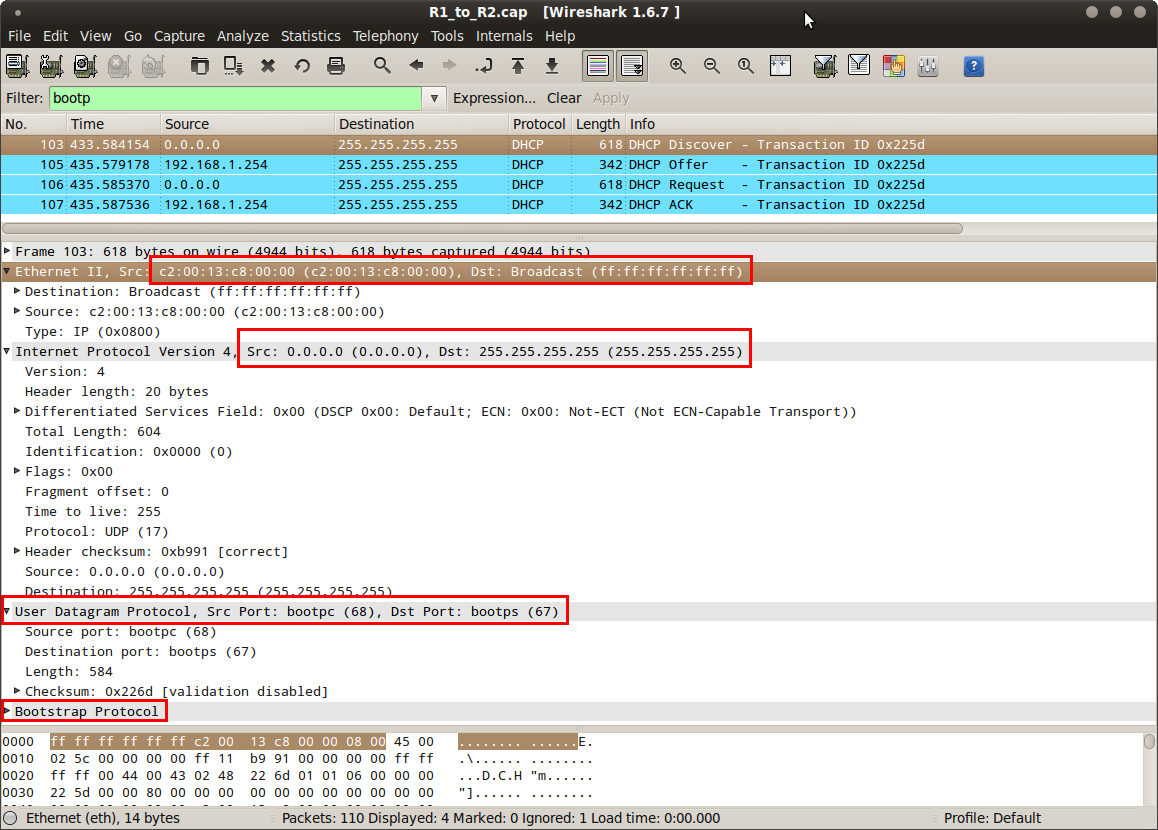 wireshark DHCP discover capture