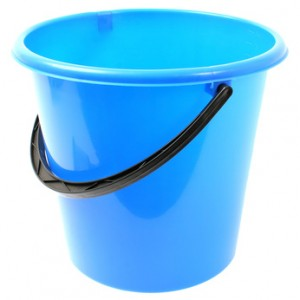 empty blue bucket