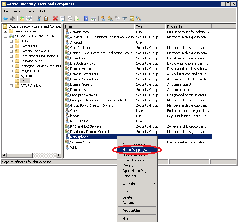 Active Directory Name Mapping