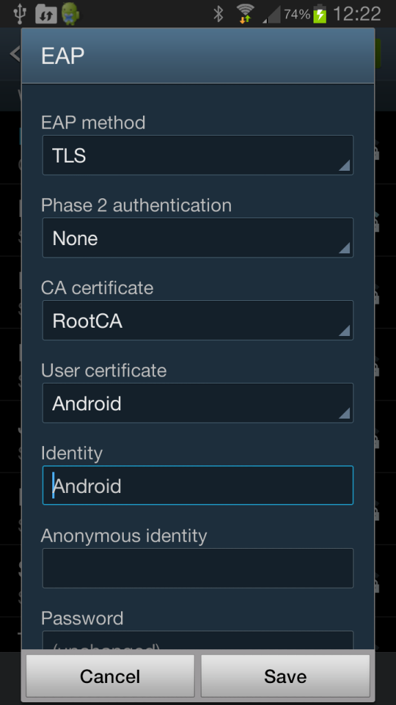 Android EAP-TLS Profile