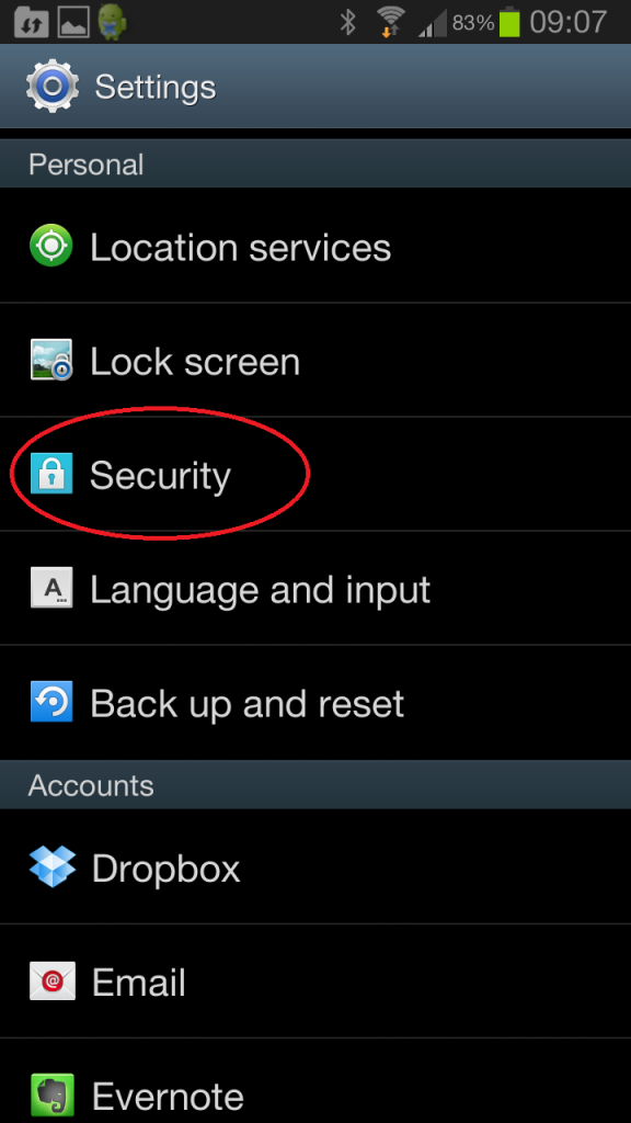Android Security Settings