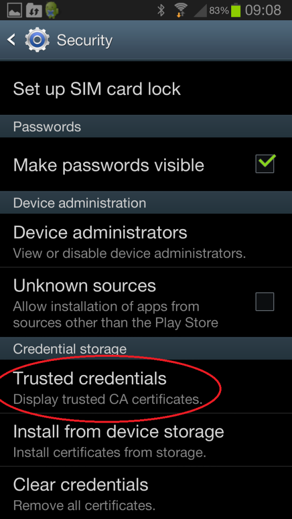 Android Trusted Credentials