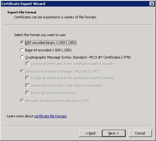 Certificate Export Wizard DER