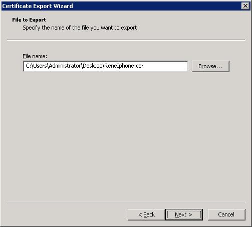 Certificate Export Wizard Filename