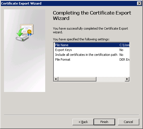 Certificate Export Wizard Finished