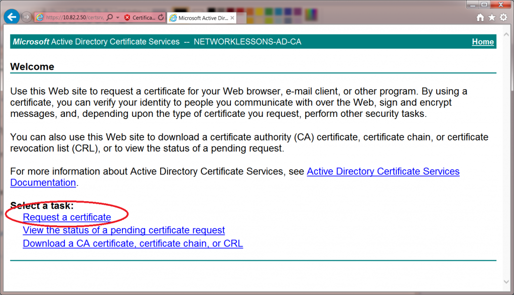 Windows 7 CertSRV Request Certificate