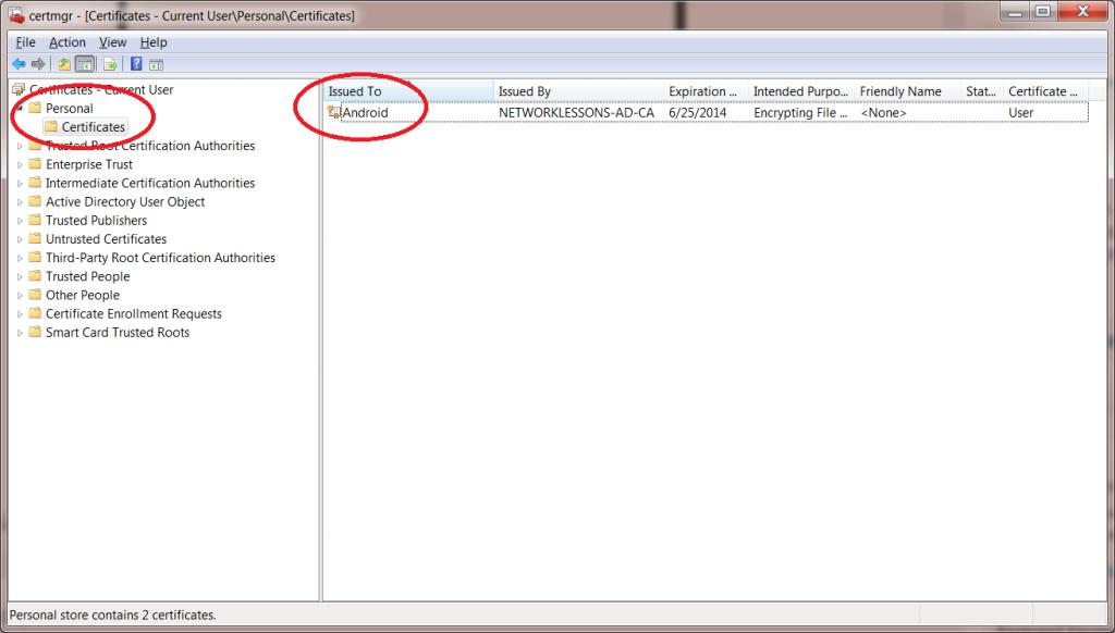 Windows 7 Certmgr User Certificate
