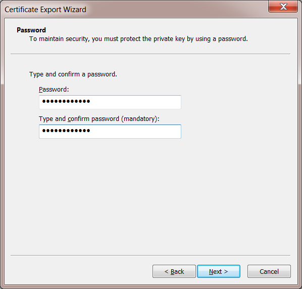 Windows 7 Private Key Password