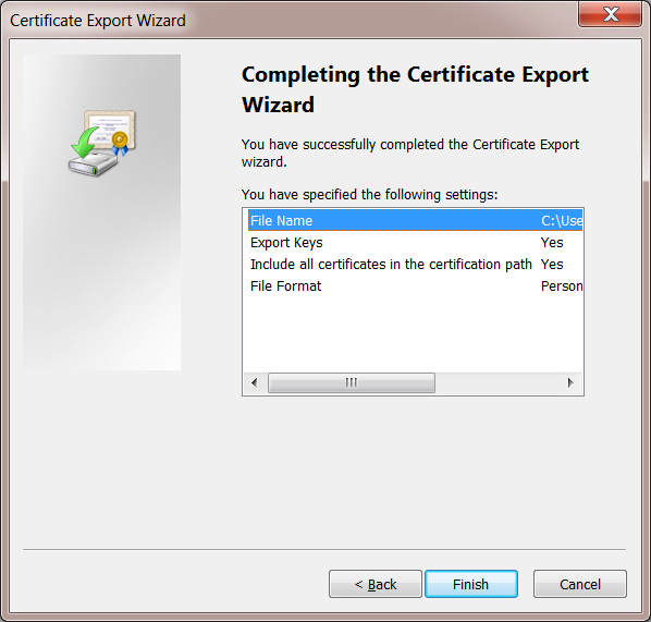 Windows 7 User Certificate Export Completed