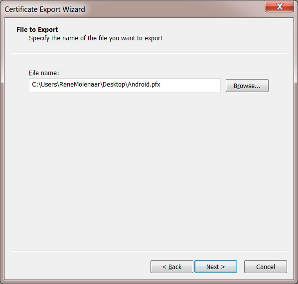 Windows 7 User Certificate Export Filename