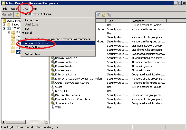Windows Server 2008 AD Advanced Features