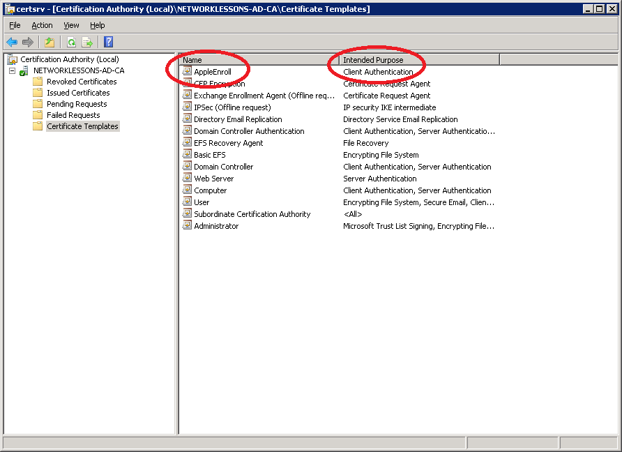 EAP-TLS with Server 2008 SCEP for Apple Devices