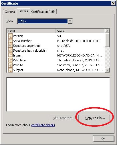 Windows Server 2008 Certificate Details