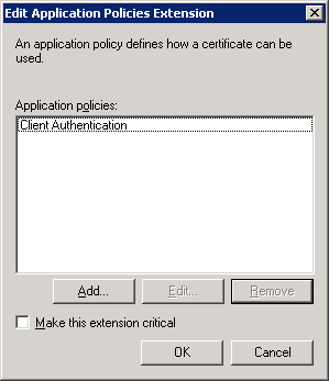 Windows Server 2008 Certificate Template Extensions Client Authentication