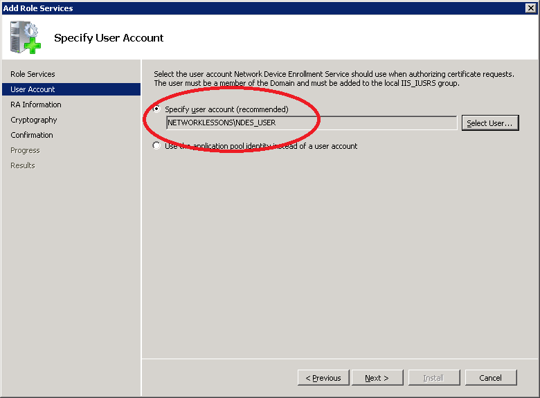 Windows Server 2008 NDES Selected User Account