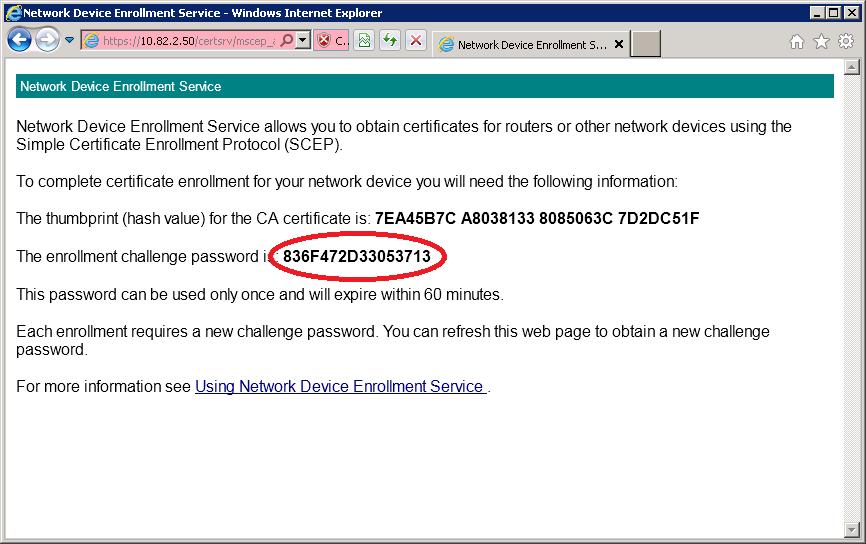 Windows Server 2008 Network Device Enrollment Service Challenge Password