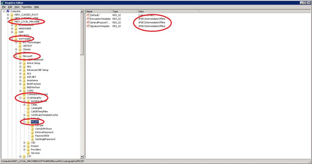 Windows Server 2008 Regedit MSCEP
