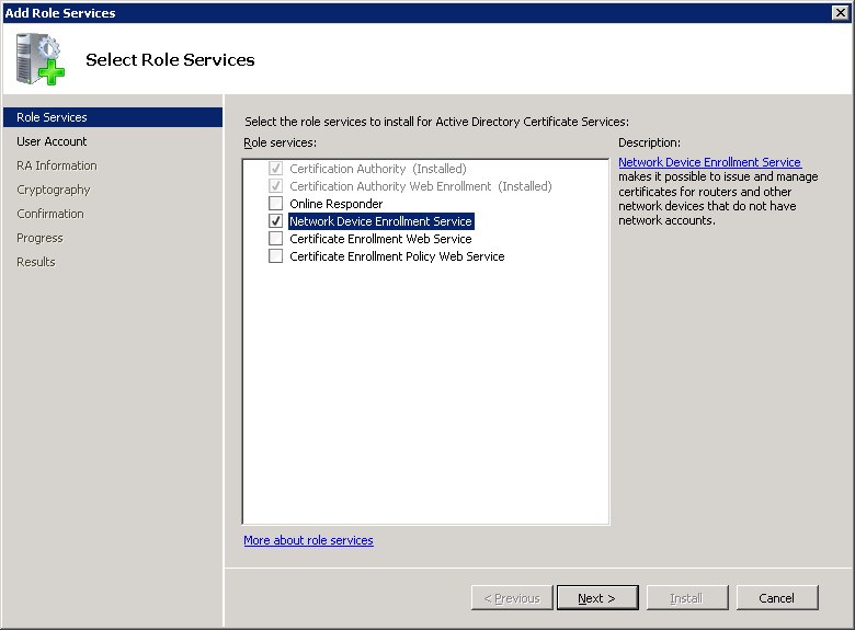 Windows Server 2008 Role NDES