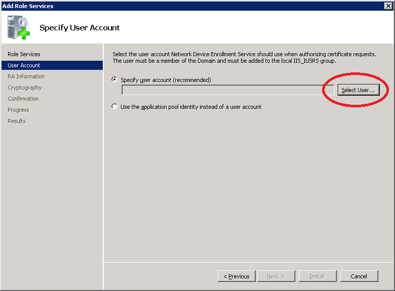 Windows Server 2008 Select NDES User