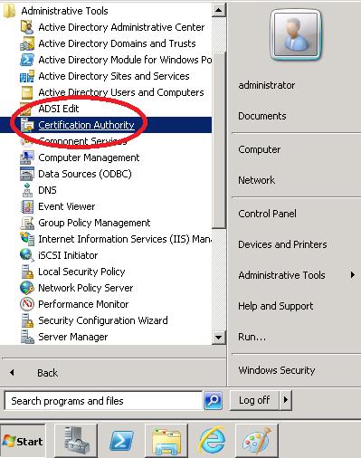 Windows Server 2008 Start Menu Certificate Authority