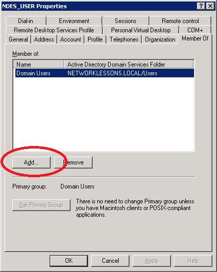 Windows Server 2008 User Properties Member Of