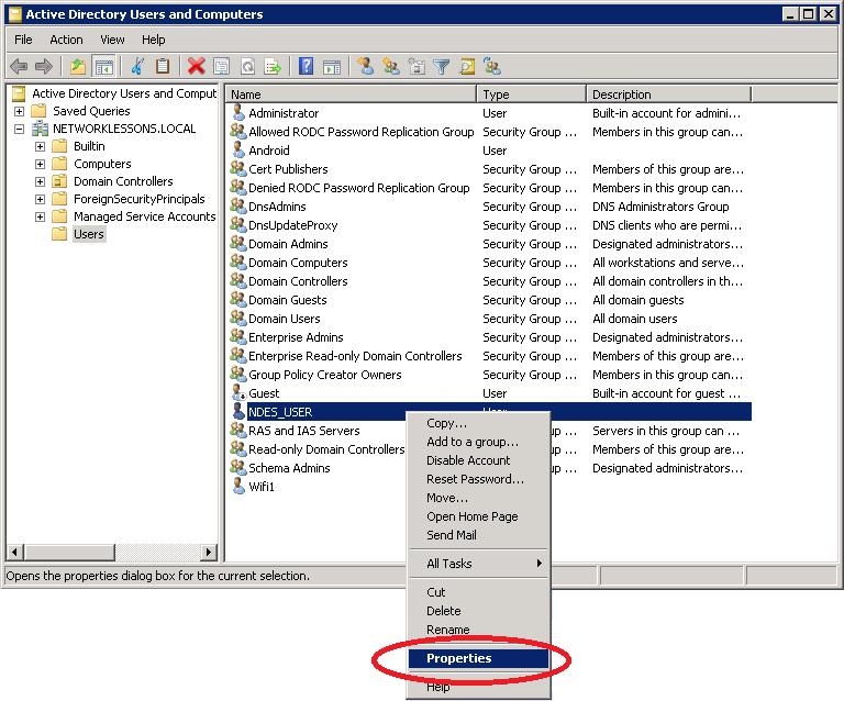 Windows Server 2008 User Properties