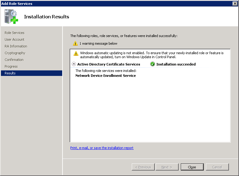 Windows Server NDES Installed