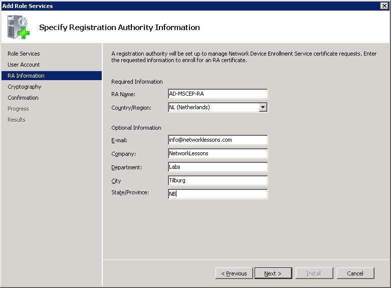 Windows Server Registry Authority Information