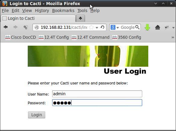cacti login screen