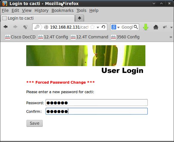cacti password change