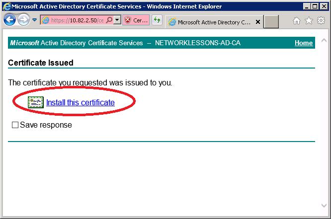 CertSRV Install Certificate