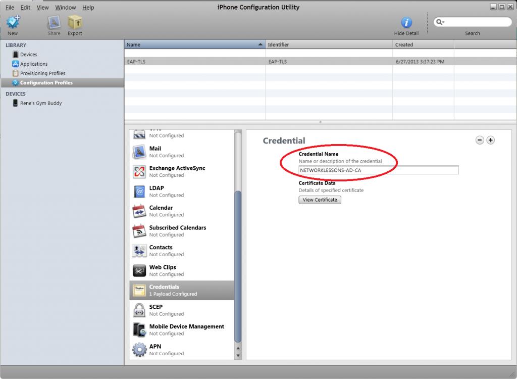 Iphone Configuration Utility Credentials Root CA