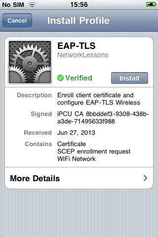 iPhone Configuration Utility Enroll Profile