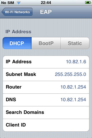 iPhone DHCP Lease