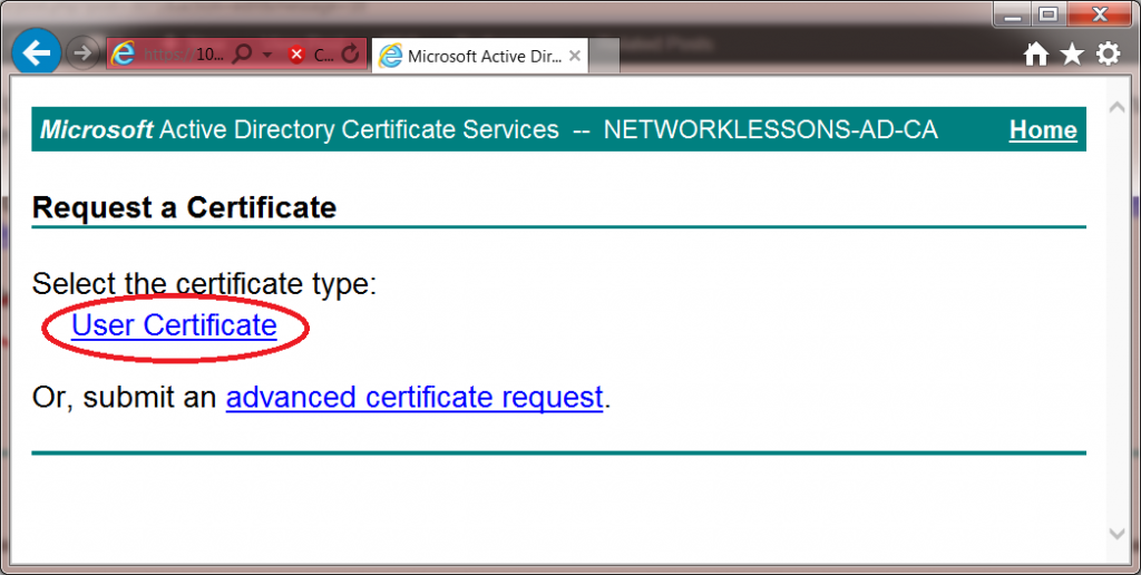 Windows 7 CertSRV User Certificate