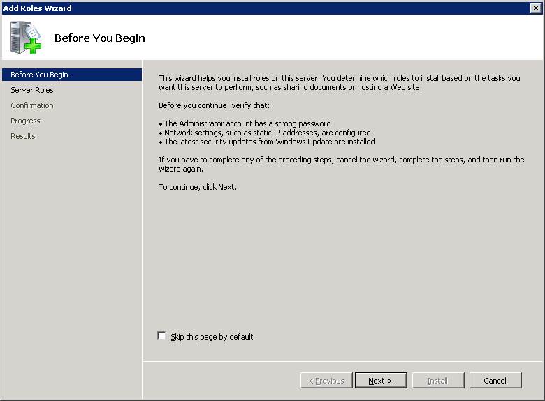Windows Server 2008 Add Roles Wizard