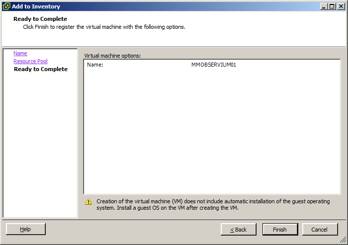 ESXi 5 vsphere client add to inventory complete