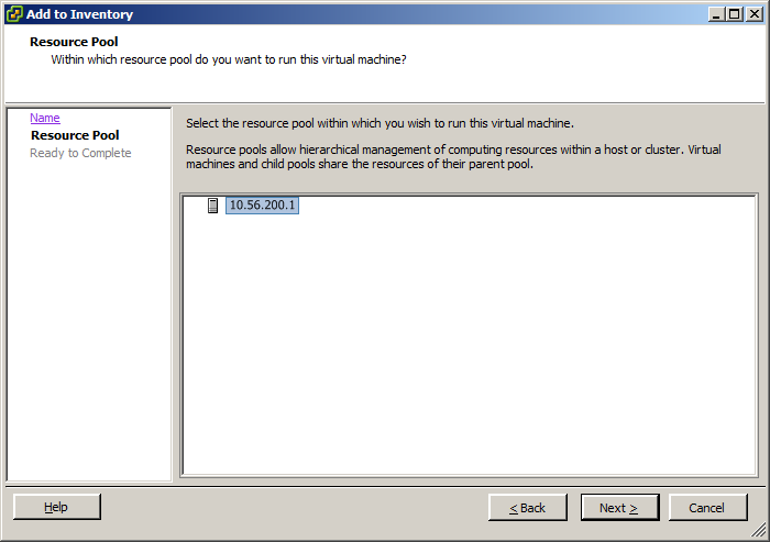 ESXi 5 vsphere client add to inventory resource pool