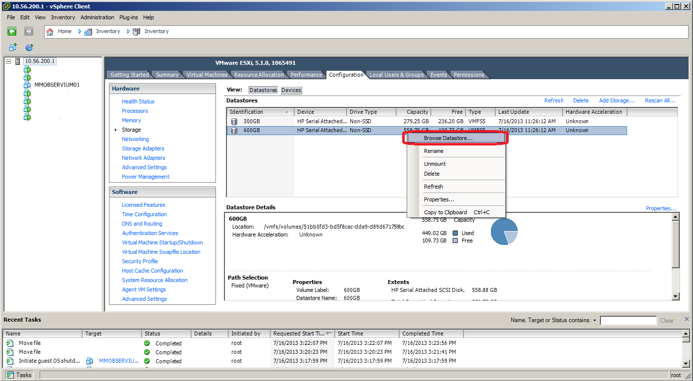 VMWare ESXi 5 Move VM to Different Datastore