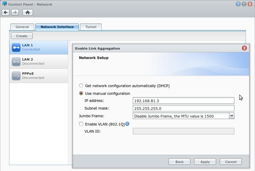 Synology DSM Link Aggregation IP Address